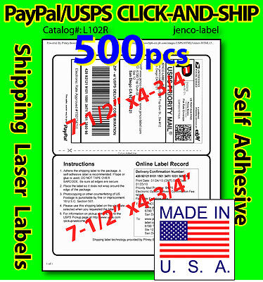 L102r 500 Paypalusps Click-and-ship Shipping Labels