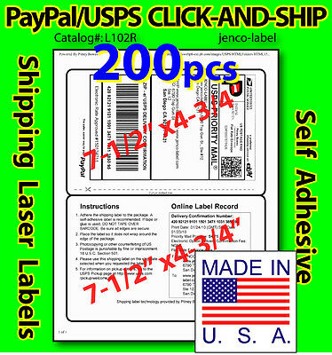 L102r 200 Paypalusps Click-and-ship Shipping Labels