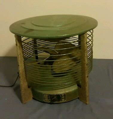 Metal Cylinger Floor Fan Le John Mfg model C-12-1 Vintage