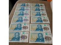Collection of 12 new plastic five pound notes in series - Winston Churchill #AA