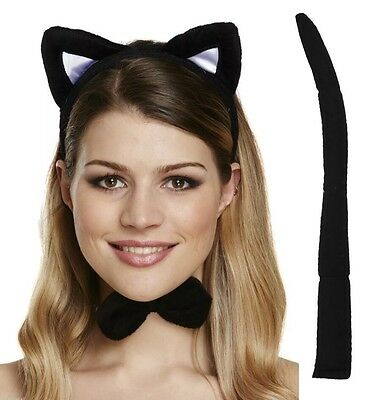 Cat Set 3 Pcs Ear On Headband Tie + Tail Kids & Adult Halloween Party accessory