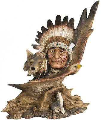 Indianerfigur Büste Häuptling mit Wölfen Sammlerfigur Winnetou Apachen Figur I34
