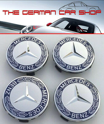 New Mercedes Benz Alloy Wheel Centre Caps 75mm Badges Blue Hub Emblem A C E G S
