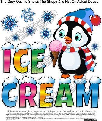 Ice Cream Snowflake Penguin Concession Trailer Food Cart Truck Menu Sign Decal