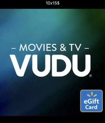 Email Gift Certificate (10 - $15 Vudu Credits for movies or shows  - Email)