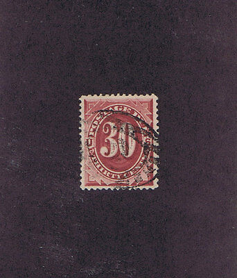 SC# J27 USED 30c POSTAGE DUE STAMP, 1891, PF CERT GRADED VF 80, BRIGHT CLARET