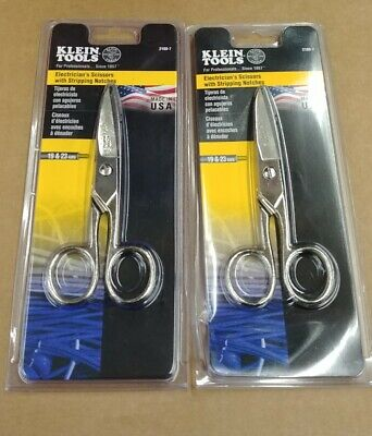 2 Pack Klein Tools 2100-7 Electricians Scissors Nickel Plated