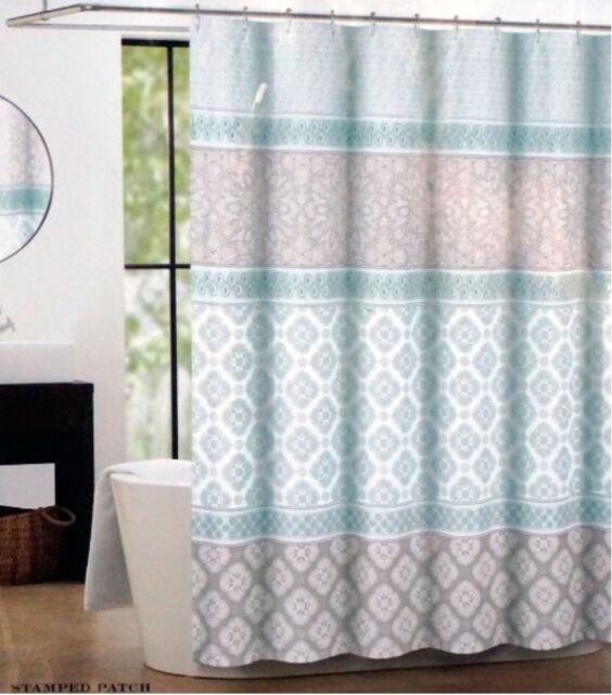 Max Studio Fabric Shower Curtain Light Green and Gray Stamped ...