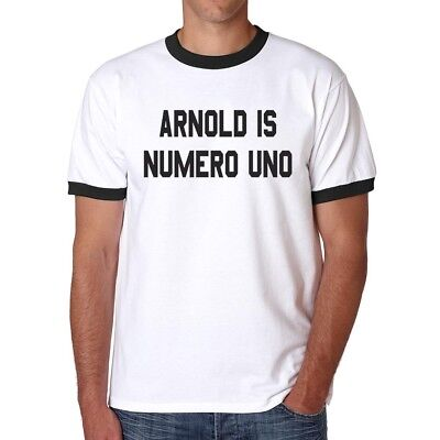 Arnold is Numero Uno Ringer T-shirt Halloween costume cosplay Shirts S-2XL Arnold Is Numero Uno T-shirt