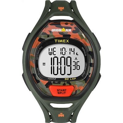 Timex TW5M01200, Men's 50-Lap Ironman Green Resin Watch, Indiglo, Chronograph