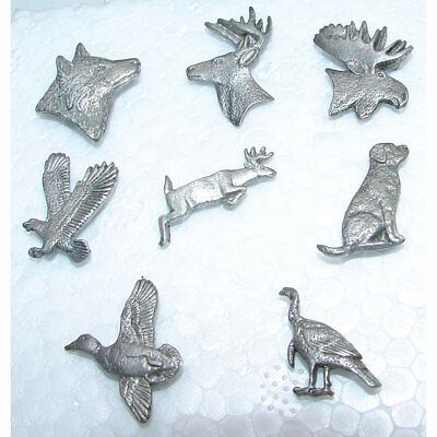 Pewter Lapel Hat Pin GG Harris Labrador, Wolf, Moose, Buck Head, Deer,Eagle,Duck - Harris Pewter Pin