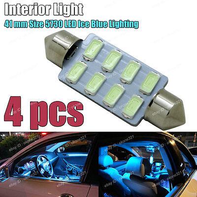 4-pc 5730 LED Aqua Ice Blue 41mm 578 211-2 561 Bulb Interior Map / Dome Light 3C