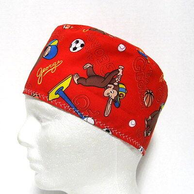 Scrub Hat, Hook and Loop Close, Surgical Cap, Skull Cap (Curious George Hat)