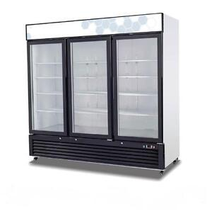 3 DOOR GLASS FRONT FREEZER - 72 CUBIC FEET - DISCOUNT SHIPPING RATES