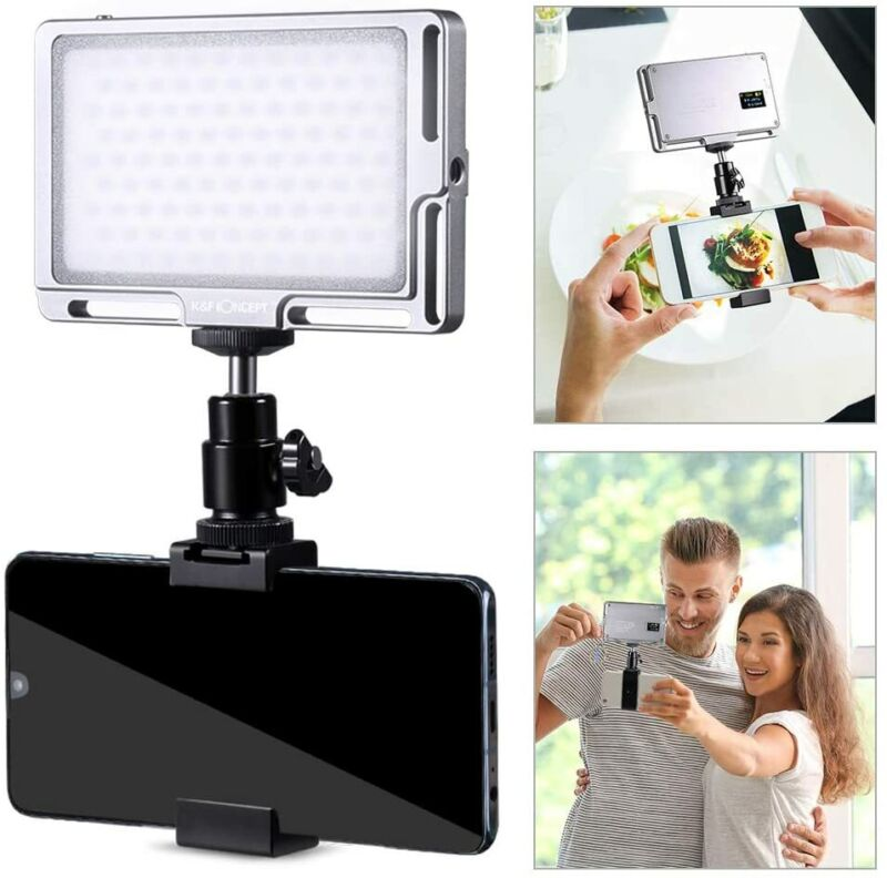K&F Concept Vlog LED Video Light CRI 96 Color 3000K-6500K Brightness Dimmable