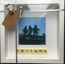 White Framed 'Friends' Scrabble Picture