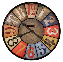HOWARD MILLER RUSTIC,MUTLI COLOR, OVERSIZES 30' WALL CLOCK 625-547 COUNTY LINE