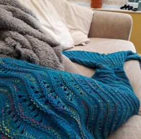 Large Mermaid Tail Crochet Blanket- Worn once.