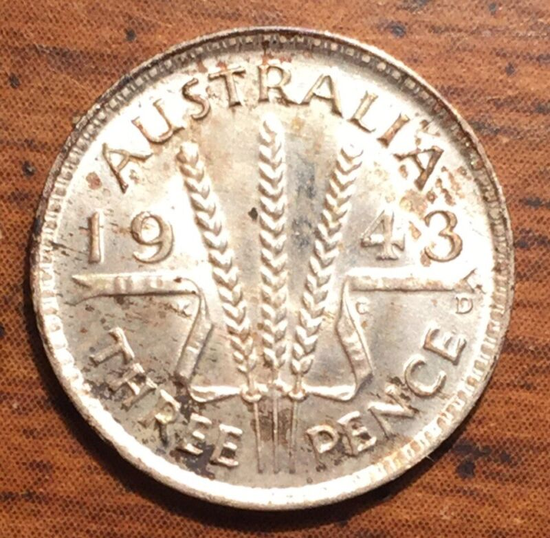 1943 D Silver Australia 🇦🇺 3 Pence King George VI Coin Uncirculated