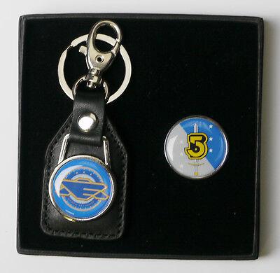 BABYLON FIVE Earth Alliance Crew Prop Tie Pin / Badge & Keyring Set (#X032)