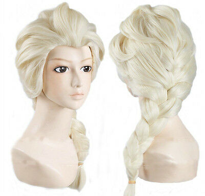 Wig Elsa Frozen Blonde Girls Children's Fancy Dress Costume plait