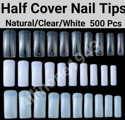 500pcs Half Cover French Nail Tips Artificial False Acrylic UV Gel Nail Tips Acrylic False Nail