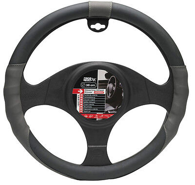 Sumex Race Sport Car Steering Wheel Cover - Dotted Grey with Black Leather #SPC