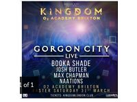 2 x Gorgon City and special guests concert tickets for Easter Saturday 31st March Brixton Academy