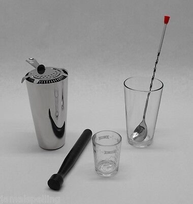 6 Pc Boston Cocktail Shaker Pro Bar Kit Spoon Measuring Glass Muddler Strainer