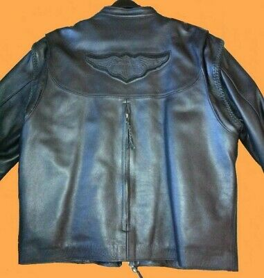 Harley Davidson XL Willie G Leather Convertible Jacket / Vest w Liner 98515-99VM