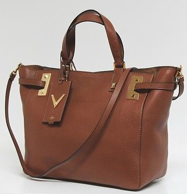 New $3000 Valentino Cognac My Rockstud Soft Leather Tote Bag