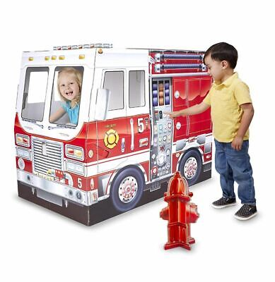 Cardboard Playhouse For Boys Girls Kids Fire Truck Indoor Corrugate Play House