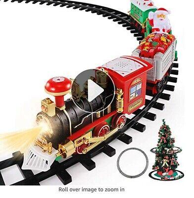 TEMI Christmas Train Toys Set Around Tree, Electric Railway Train Set w/ Locomot