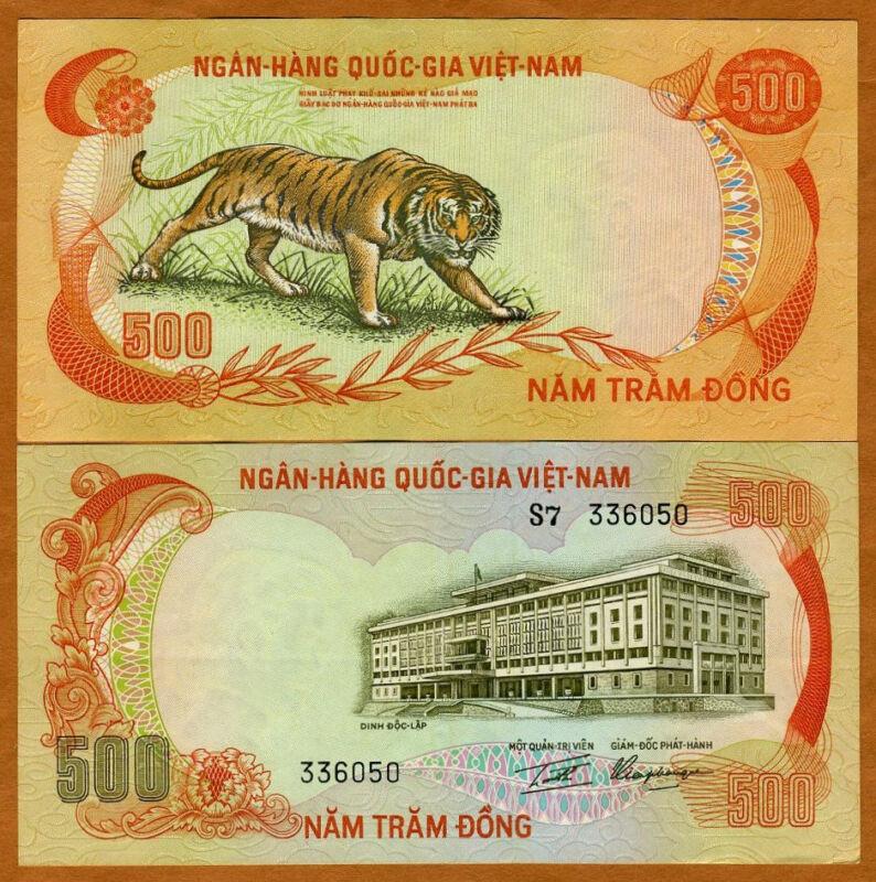 Vietnam South, ND (1972) 500 dong, Pick 33, aUNC, TIGER