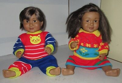 "16"" Lakeshore Learning Ethnic Hispanic Boy Doll & Girl Set Lot Nice Educational"