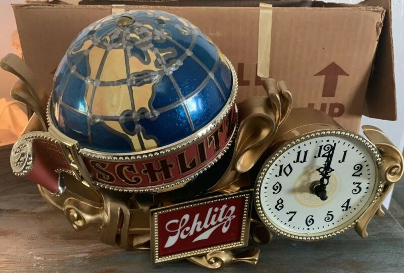 Schlitz Beer Spinning Globe Lighted Clock Cash Register Bar Display Sign -NOS