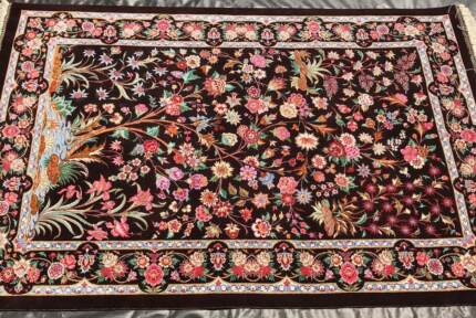 MASTERPIECE PURE SILK HAND KNOTTED PERSIAN QUM RUG CARPET SIGNED
