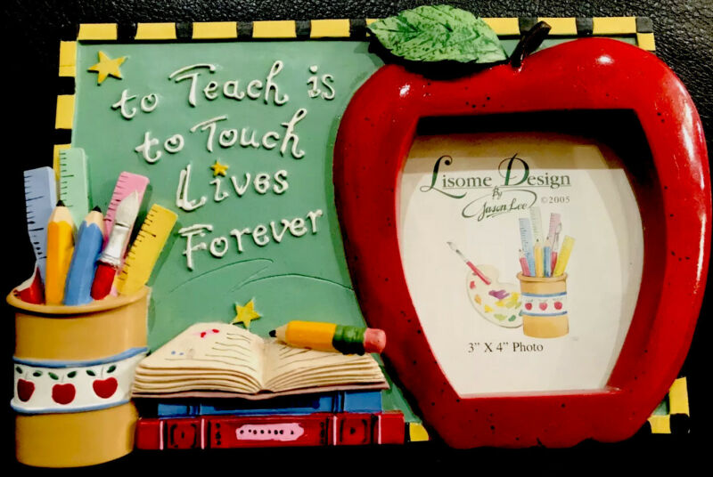 Lisome Design Teachers Picture Desk Frame Plaque Apple Books Learning 3x4
