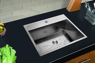 "25""x 22""x 9"" Stainless Steel Top Mount Kitchen Sink Single Basin w/ Bottom Grid"
