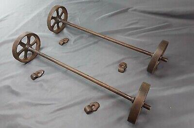 Antique Hit Miss Gas Engine Cart Parts Set Cast Iron Six Spoke Wheels Axles