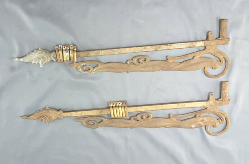 Pair of ornamental Antique Expandable Swing Arm Curtain Rods 17-22 inches
