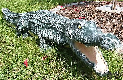 KROKODIL ALLIGATOR 115 cm Garten Deko Teich Tier Figur Kroko Skulptur Statue