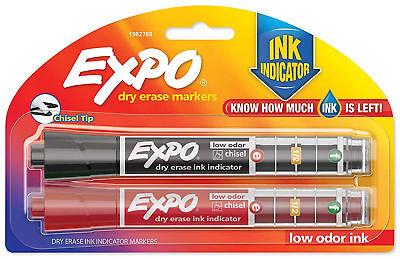 EXPO Dry Erase Markers [Chisel Tip] Ink Indicator - Black & Red Low Odor (Chisel Tip Red Ink)