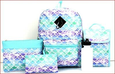 """6 pcs - RAINBOW MERMAIDS Large 17"""" BACKPACK + LUNCH Bag + Pencil & Tablet Cases for sale  Shipping to India"""