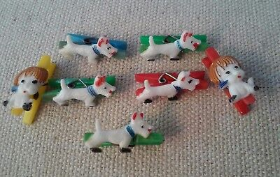 70's GUM BALL MACHINE PREMIUM PRIZE MINIATURE SCOTTIE DOG CLOTHES PIN CHARMS (7)
