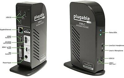 Plugable USB-C Triple Display Dock for Windows with Charging. 2 x HDMI 1 x DVI