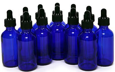 1oz Cobalt Blue Glass Bottles with Glass Eye Dropper Pack of 12- New ! 30 ML