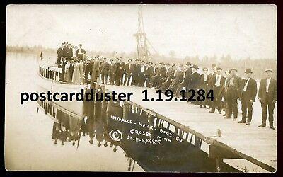*1284 - CROSBY Minn 1911 TWIN CITY Motor Boat at Pier. Real Photo PC by Hakkerup