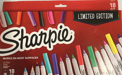 Sharpie 18ct Permanent Markers Ultra Fine Point Tip New Limited Edition 18 Pack