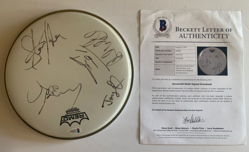 """Aerosmith All 5 Band Signed Autographed 10"""" Drumhead Beckett Certified"""